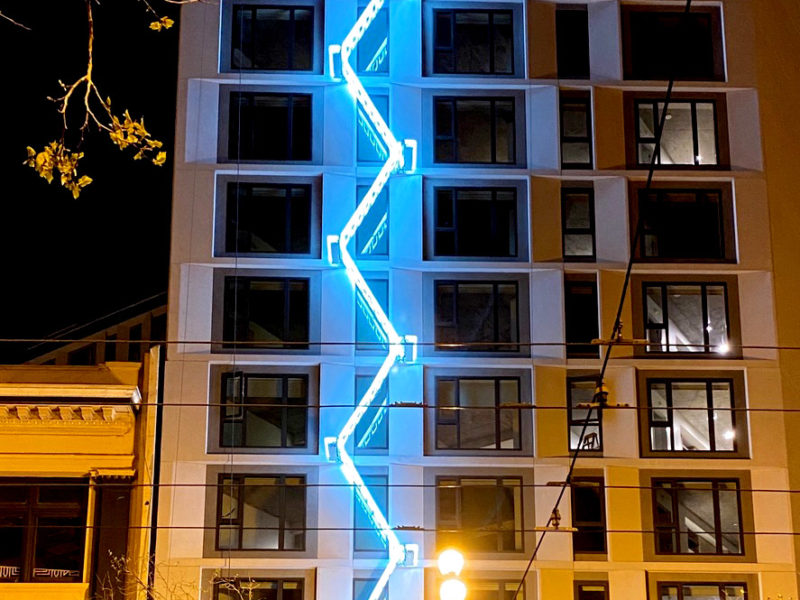 The Ladder by Iván Navarro. Art Installation on 50 Jones Apartments at Market Street in San Francisco