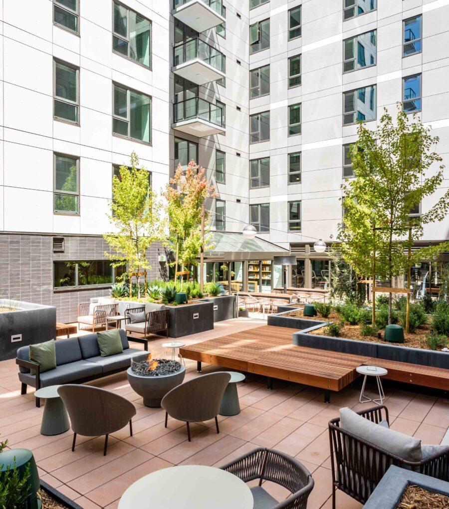 50 Jones Apartments Oasis Landscaped Courtyard Lounge